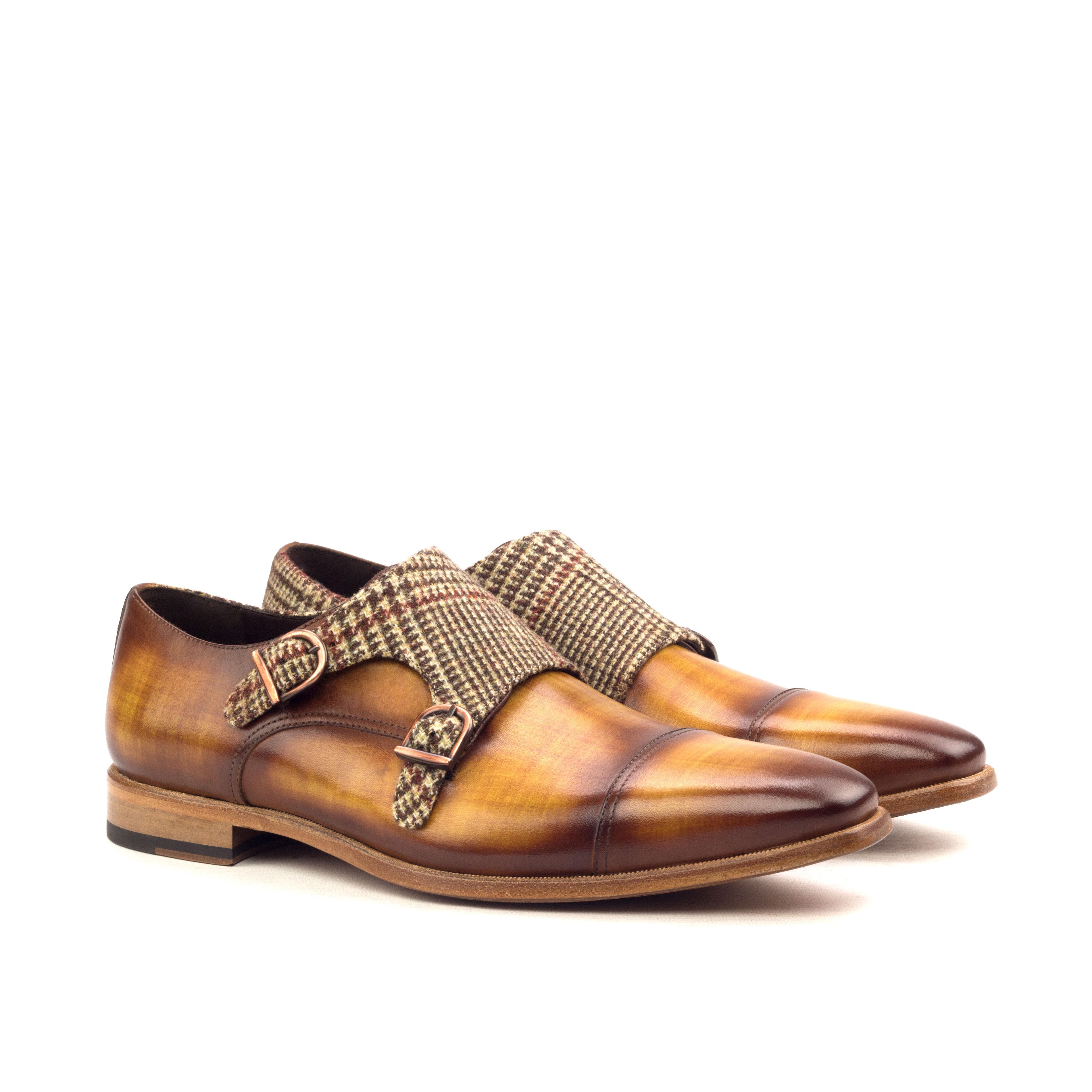 Double Monk – Crust Patina Cognac-Wool Tweed Brown-Ang5