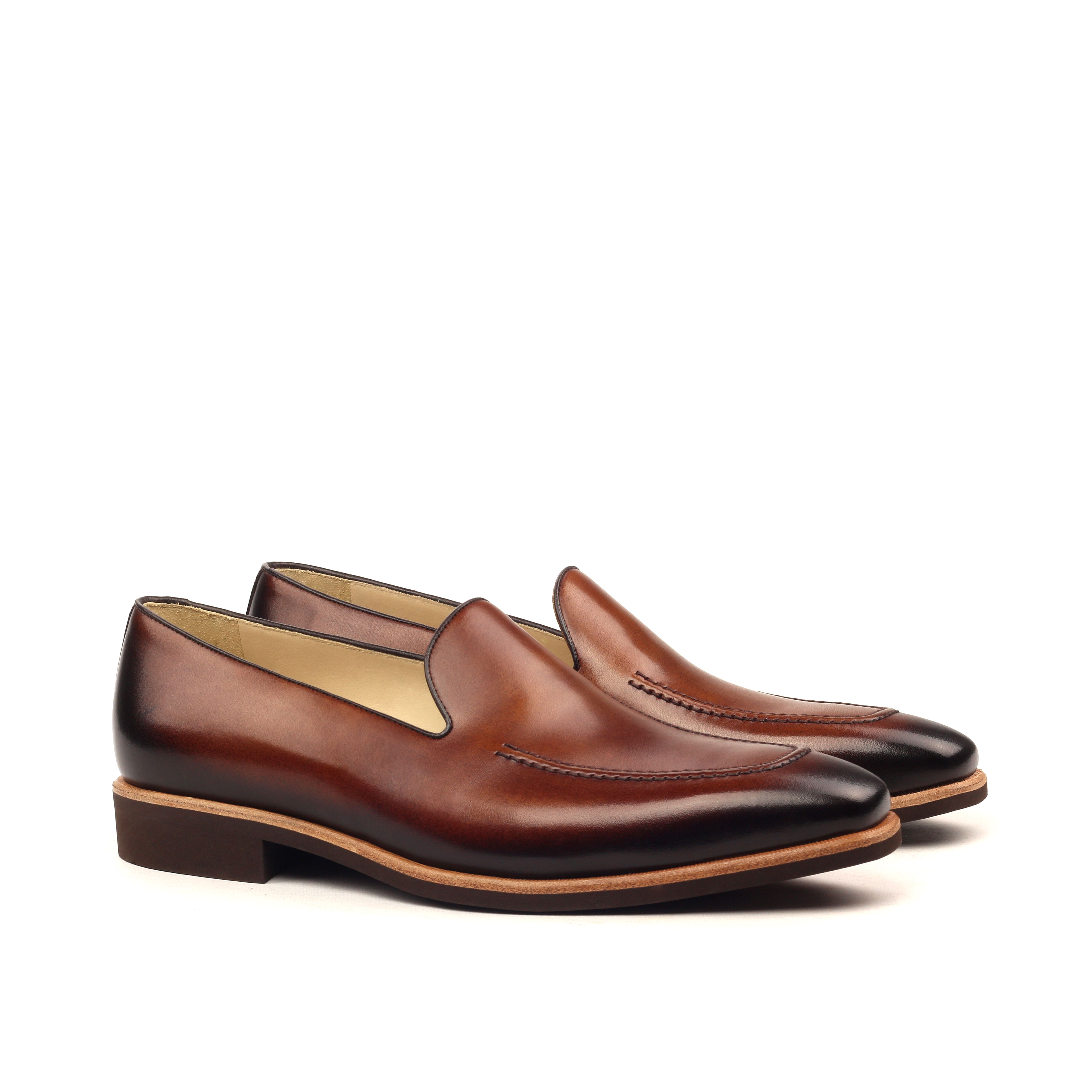 Loafer Plain – Light Burnishing-Painted Calf Med Brown And Dark Brown-Ang5